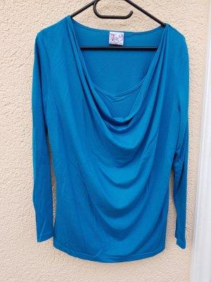 Camisa con cuello caído azul aciano