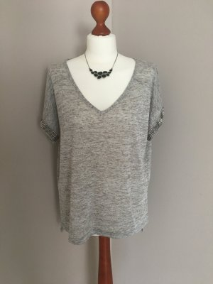 Atmosphere V-hals shirt zilver-lichtgrijs