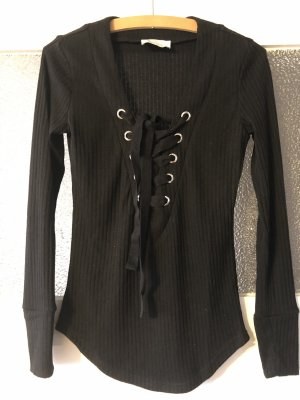 Ribbed Shirt black-silver-colored