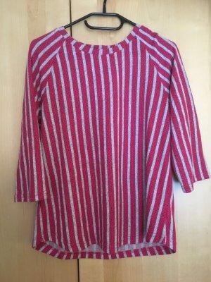 Gestreept shirt roze-zilver Katoen