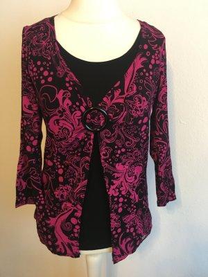 Shirt Oberteil 3/4 Ärmel 2-in-1 schwarz pink gemustert Gr. S