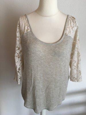Shirt Oberteil 3/4 Ärmel gold beige Rücken aus Spitze Abecrombie