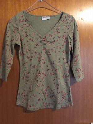 Shirt Oberteil 3/4 Ärmel khaki grau Blumenmuster von Esprit Gr. XS