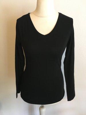 Shirt Oberteil Basic Langarmshirt Longsleeve schwarz Gr. S