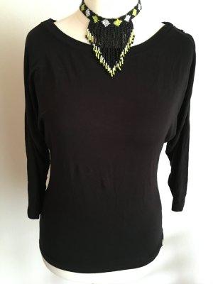 Shirt Oberteil Basic schwarz 3/4 Ärmel locker Gr. 38