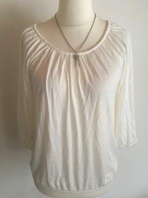Shirt Oberteil Basic weiß 3/4 Ärmel Gr. L