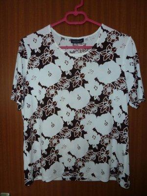 Shirt Oberteil Blumenmuster Gr. M 40 42 C&A geblümt braun weiß