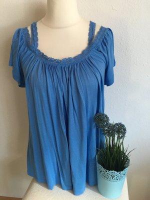 Shirt Oberteil Bluse Carmen blau mit Spitze Gr. 38 locker NEU
