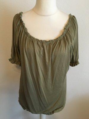 Shirt Oberteil Bluse Carmenbluse hell khaki süss Off-Shoulder