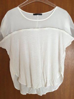 Shirt Oberteil Bluse locker weiß oversized Gr. 38
