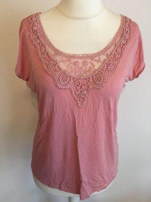 Shirt Oberteil Bluse Tunika mit Spitze rosa nude Gr. S