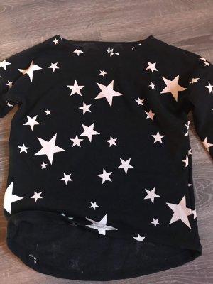 Shirt Oberteil Dreiviertel Ärmel Sterne Muster Print dunkelblau weiß pullover