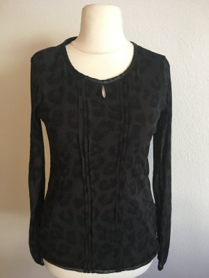 Shirt Oberteil Langarmshirt Animal Print schwarz grau Gr. S