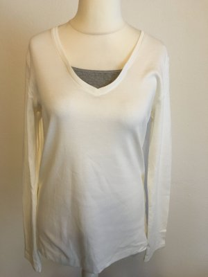 Shirt Oberteil Langarmshirt Longsleeve Twinset grau weiß S. Oliver Gr. 42