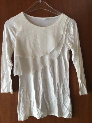 Shirt Oberteil Langarmshirt mit Volants weiß Gr. XS