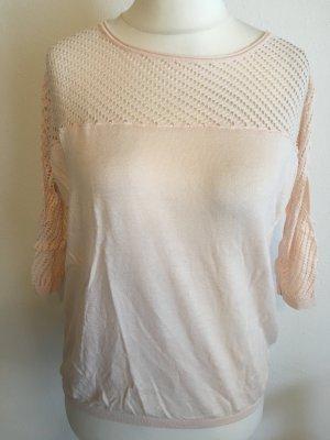 Shirt Oberteil leichter Pullover rosa nude 3/4 Ärmel Gr. M