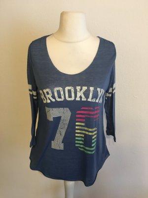 Shirt Oberteil locker leicht 3/4 blau mit Print Gr. S