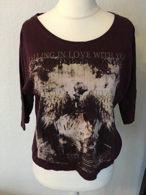 Shirt Oberteil locker oversized weinrot mit Motiv Gr. XS