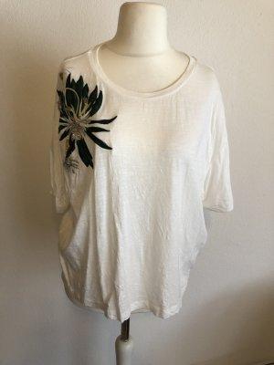 Shirt Oberteil locker oversized weiß mit Details Gr. M