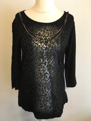 Shirt Oberteil Longshirt Animal Print schwarz silber mit Kette Gr. 40