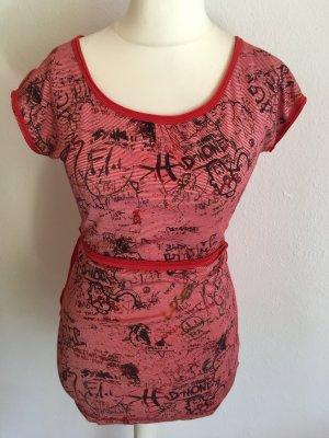 Shirt Oberteil Longshirt mit Gürtel rot weiß von Converse Gr. S