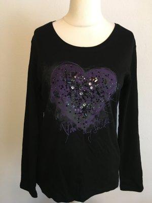 Shirt Oberteil Longshirt schwarz mit Print und Steinchen Gr. 40