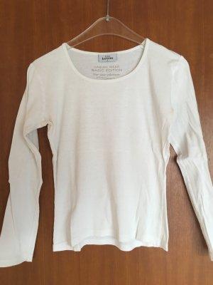 Shirt Oberteil Longsleeve Basic weiss Langarmshirt Gr. S