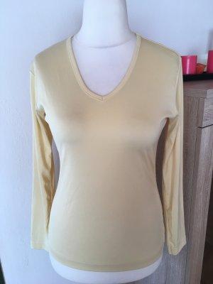 Shirt Oberteil Longsleeve Langarmshirt Basic gelb blassgelb