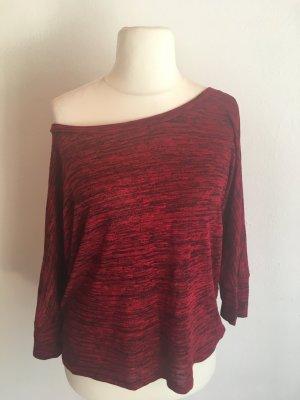 Shirt Oberteil Pulli leicht rot schwarz meliert locker
