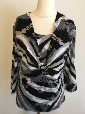 Shirt Oberteil schwarz grau 3/4 Ärmel sexy Gr. 40