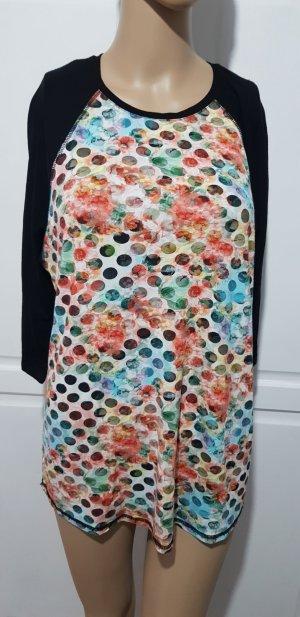 shirt Oberteil schwarz mit floralen muster