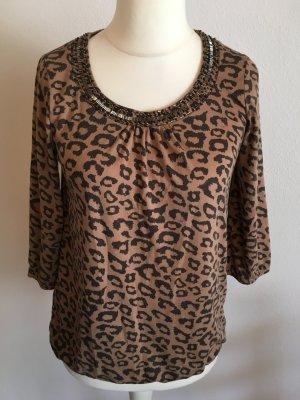 Shirt Oberteil sexy animal print mit Perlen braun Gr. S TOP