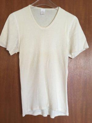Shirt Oberteil Strickoberteil Kurzarm Pullunder wollweiß Angora Gr. M