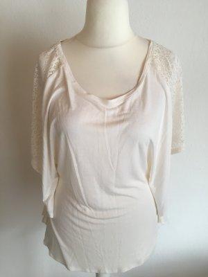 Shirt Oberteil Tunika Basic weiß mit Spitze locker boho Gr. S