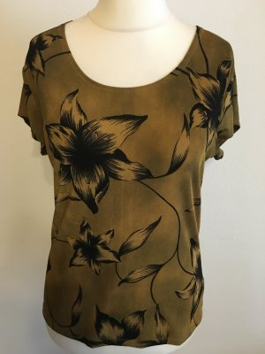 Shirt Oberteil Vintage Blumenprint grün khaki Gr. M weich