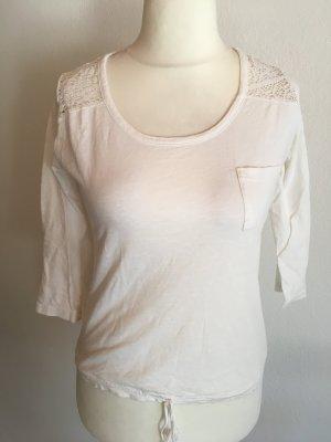 Shirt Oberteil weiß creme mit Spitze 3/4 Ärmel Gr. M
