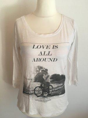 Shirt Oberteil weiß locker mit Print Gr. L