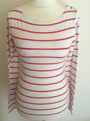 Shirt Obrteil Longsleeve gestreift weiß rot süß Gr. S