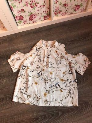 Shirt off-shoulder Blumen Muster Print weiß Bluse Schlitze Schulter lockerer leichter Stoff Chiffon neu