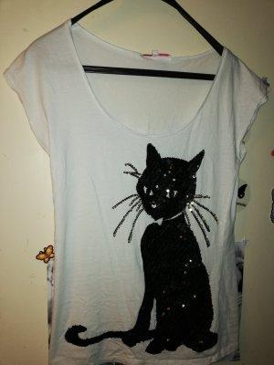 Shirt Pailetten Katze Gr. 38