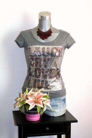 Shirt Pailetten LongShirt Gr. 36/38 Grau Silber