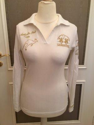 Shirt Poloshirt Langarmshirt weiß gold La Martina Gr. M