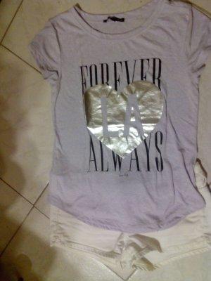 Shirt Print druck pastellflieder/ silber