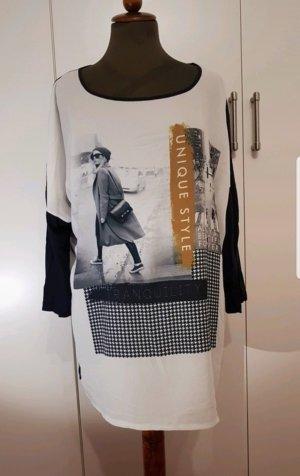 Shirt Print Ulla Popken weiß  blau 46/48
