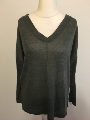 Shirt Pullover Pulli Langarmshirt locker oversized grün khaki Gr. 38