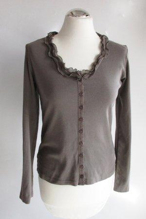 Shirt Pullover Rundhals Street One Modell Frilla Größe M 38 Grau Ecru Rüschen Cardigan Ripp Jersey Baumwolle