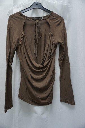 Shirt, Rinascimento, langarm, Gr. S, Wickeltop, braun, NP 49€
