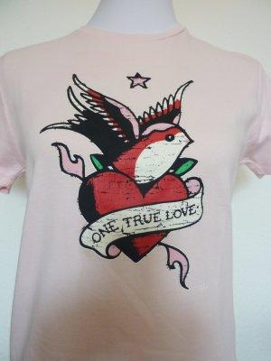 Shirt rose mit Schwalbe Rockabilly 40 42