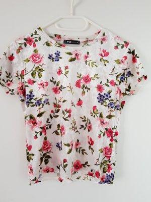 Amisu Camicia cropped bianco-rosa