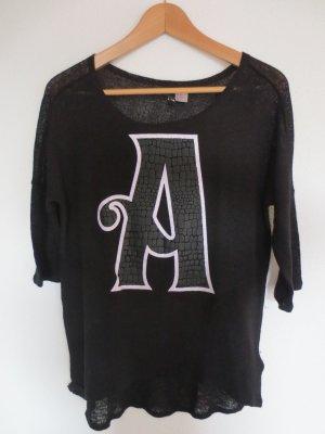 Shirt schwarz, 3/4 Arm, Aufdruck A, Gr. XS, H&M